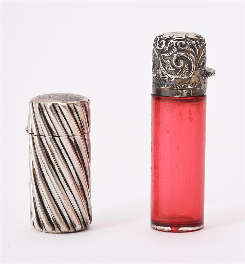 A Victorian silver cylindrical scent bottle by Sampson Morden - Image 2 of 2