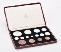 Royal Mint, George VI, a 15 coin proof specimen set to include maundy coins