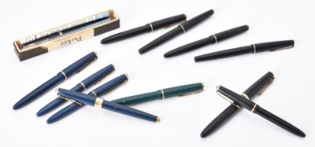 Parker, a collection of twelve fountain pens