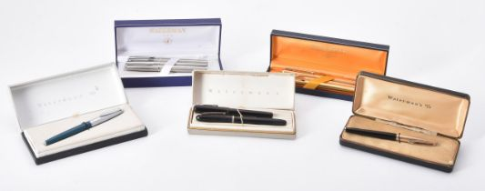Waterman, a collection of nine fountain pens