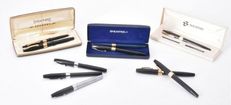 Sheaffer, nine fountain pens and a ballpoint pen