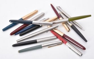 A collection of Parker fountain pens