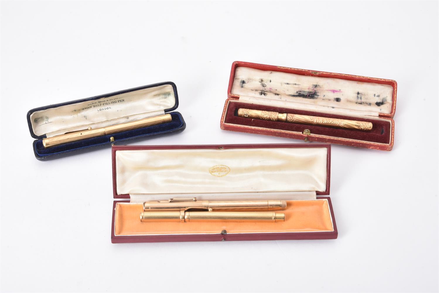Mabie Todd & Co., Swan, a gilt metal fountain pen