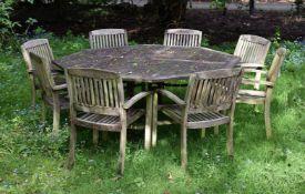 A teak octagonal garden table