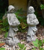 Two similar stone composition models of girls
