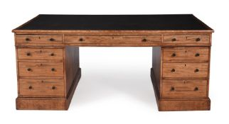 A Regency mahogany twin pedestal partner's desk