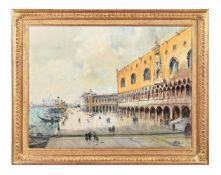 Otto Hammel (German 1866-1950), Promenade Riva degli Schiavoni on San Marco Square