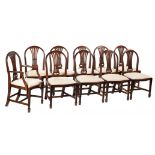A set of ten mahogany dining chairs in George III style