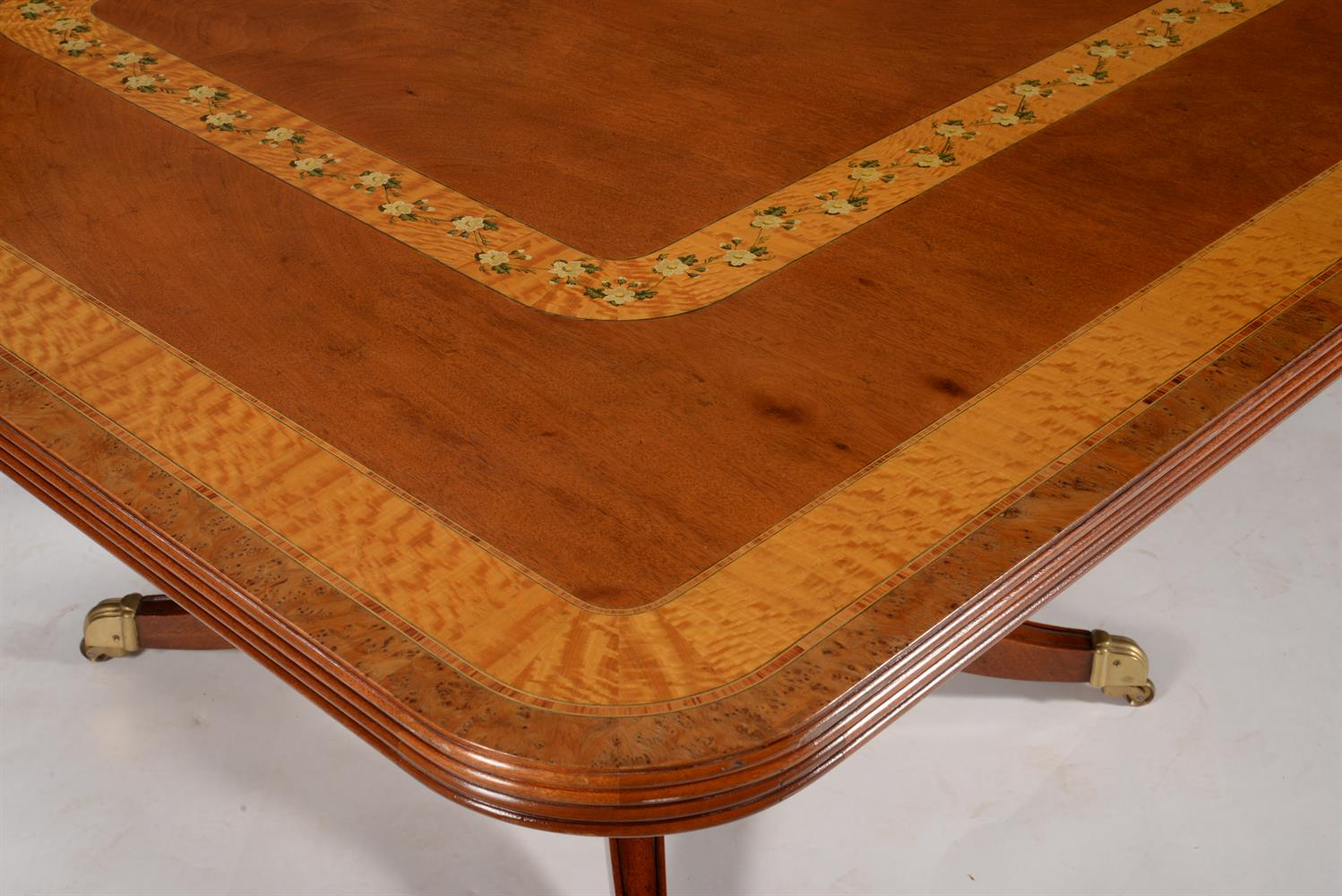 Y A mahogany and satinwood crossbanded twin pedestal dining table by Restall - Image 2 of 4