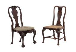 An Irish red walnut George II side chair