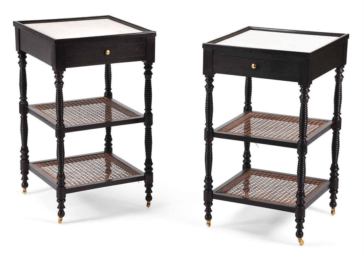 A pair of ebonised bedside tables in early 19th century Anglo-Indian style