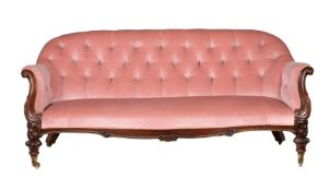 Y A Victorian rosewood and button upholstered sofa