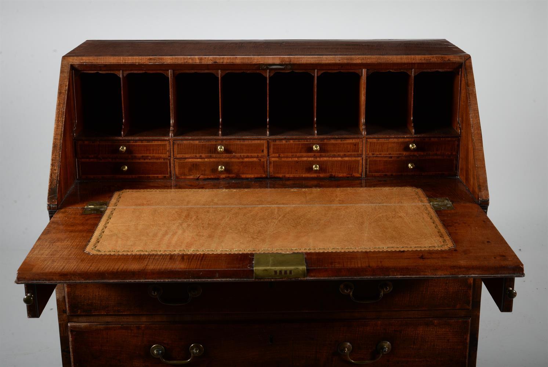 A George III mahogany and crossbanded bureau - Image 2 of 2
