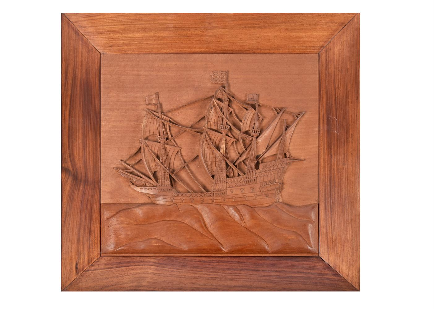 A set of five nautical Indian carved teak and hardwood wall panels - Image 5 of 5