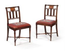 Y A Pair of Regency mahogany side chairs