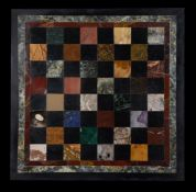 A black slate specimen marble inlaid table top