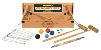 A croquet set, recently manufactured by Jaques of London