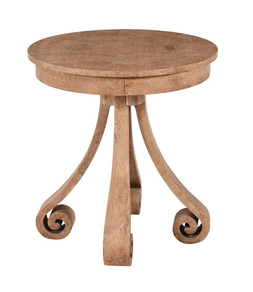 A burr ash circular occasional table in 19th century style