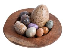 A collection of fourteen specimen marble and stone eggs