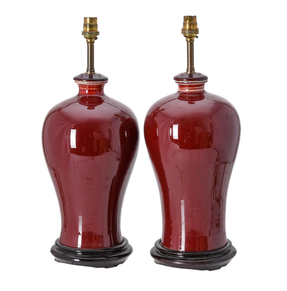 A pair of red glazed table lamps in Chinese style - Image 2 of 2