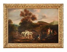 Follower of Philips Wouwerman, Travellers resting in a landscape
