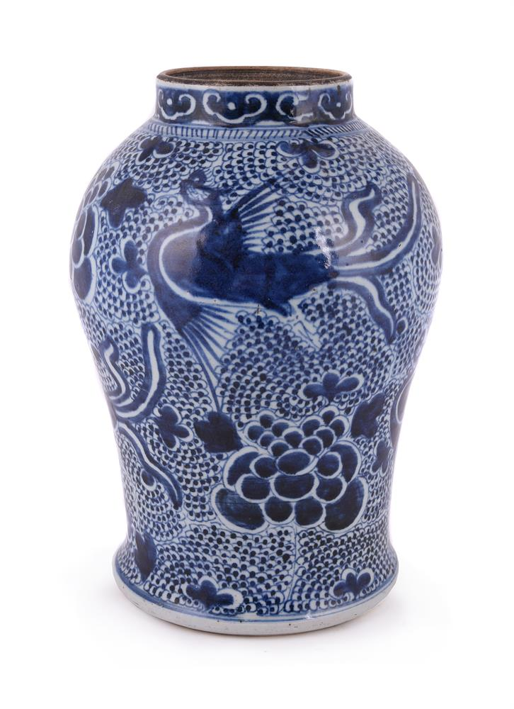 A Chinese blue and white 'Phoenix' jar