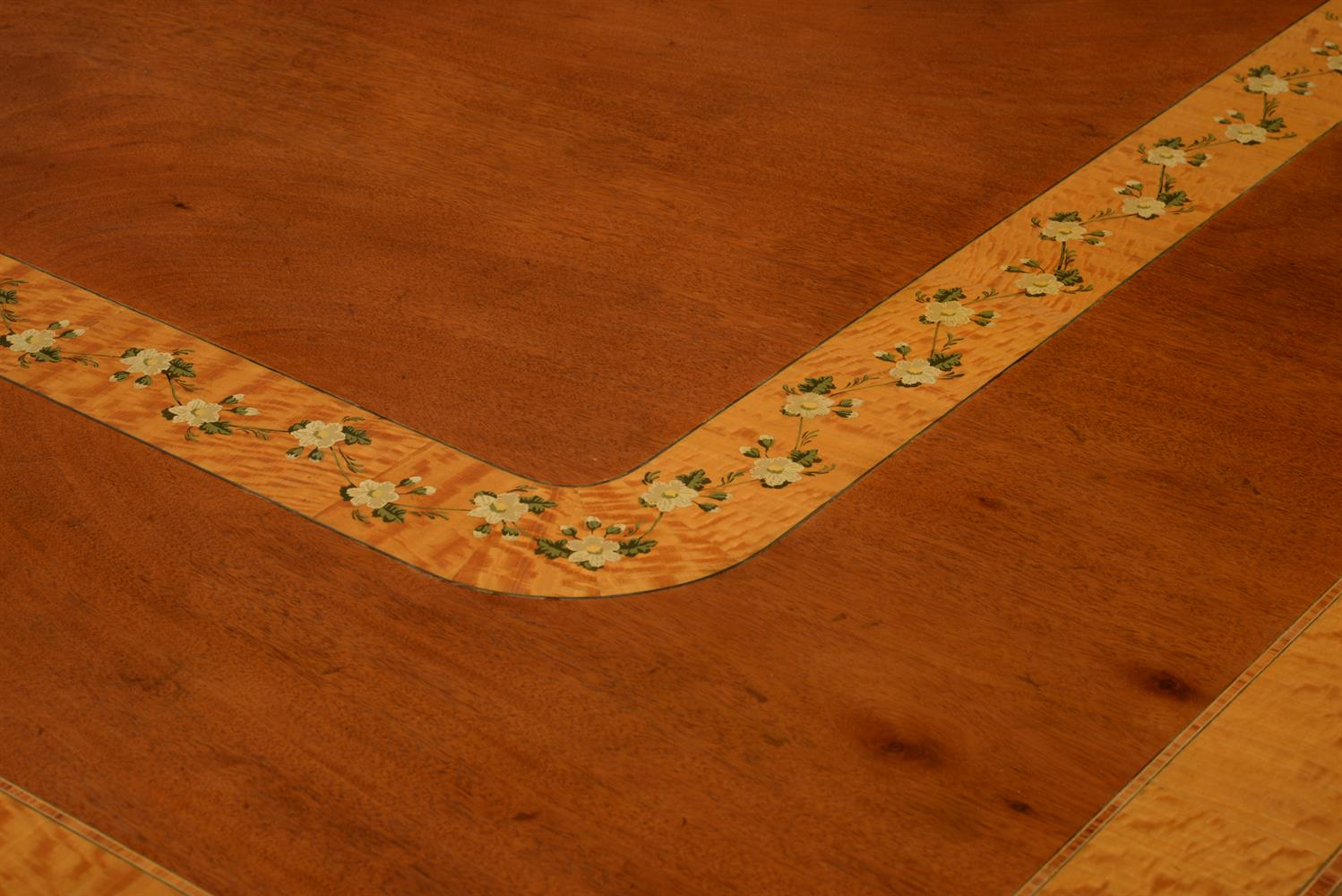 Y A mahogany and satinwood crossbanded twin pedestal dining table by Restall - Image 3 of 4