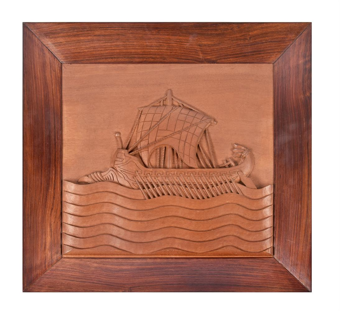 A set of five nautical Indian carved teak and hardwood wall panels