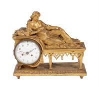 A Continental giltwood mantel clock