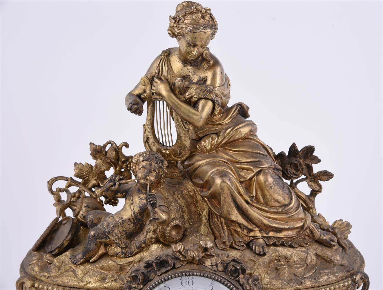 A French giltmetal and Sevres-style porcelain inset mantel clock - Image 2 of 4
