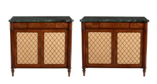 A graduated pair of side cabinets, in Regency style