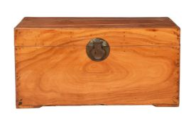 Two similar Chinese patinated leather trunks