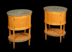 A pair of Russian satin birch marble topped bedside tables