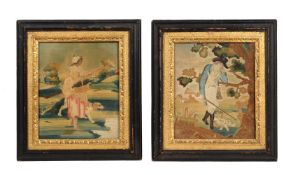 Two similar George III silk-work bucolic framed and glazed pictures