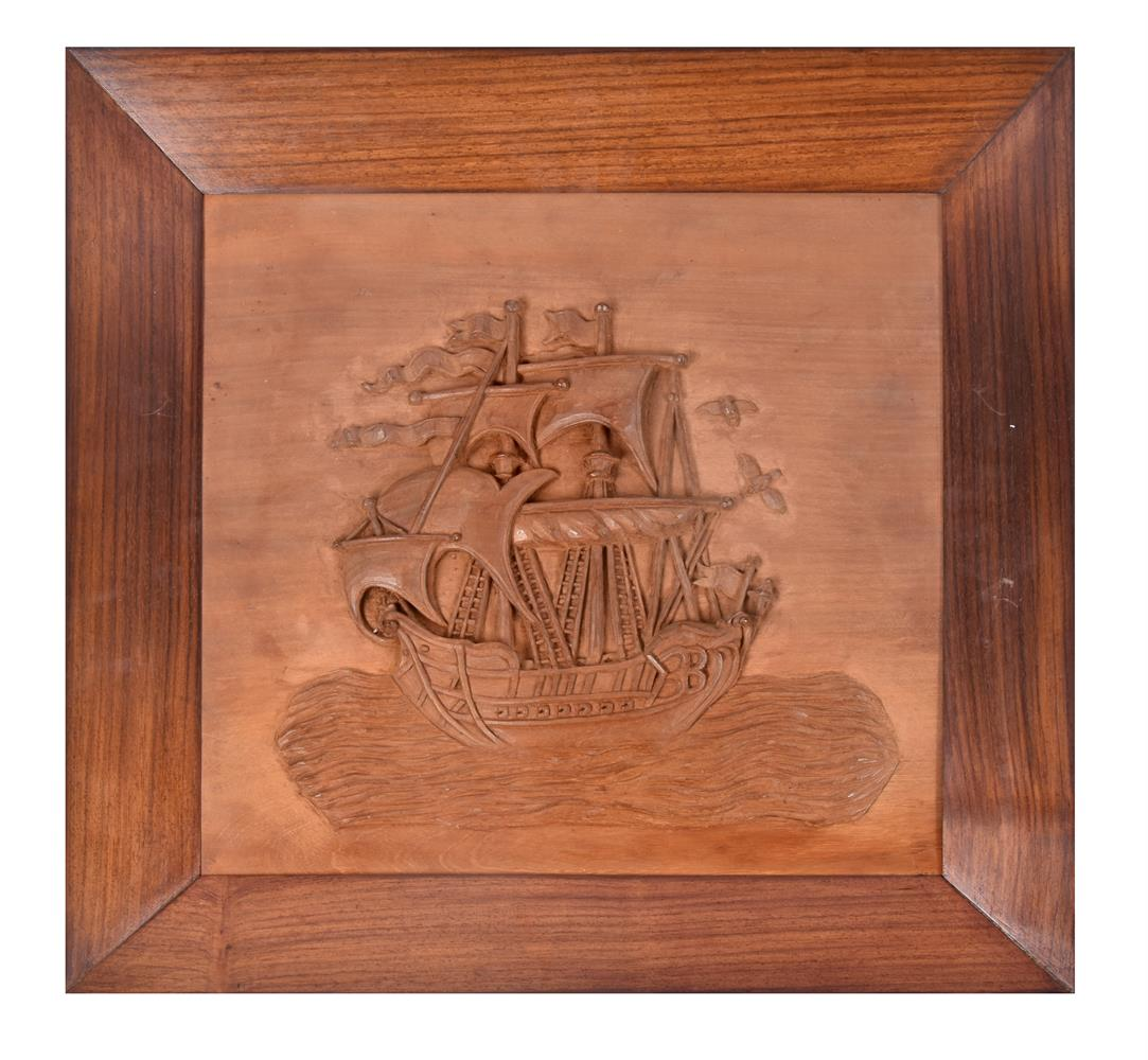 A set of five nautical Indian carved teak and hardwood wall panels - Image 3 of 5