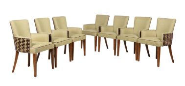 A set of fourteen beech and upholstered armchairs