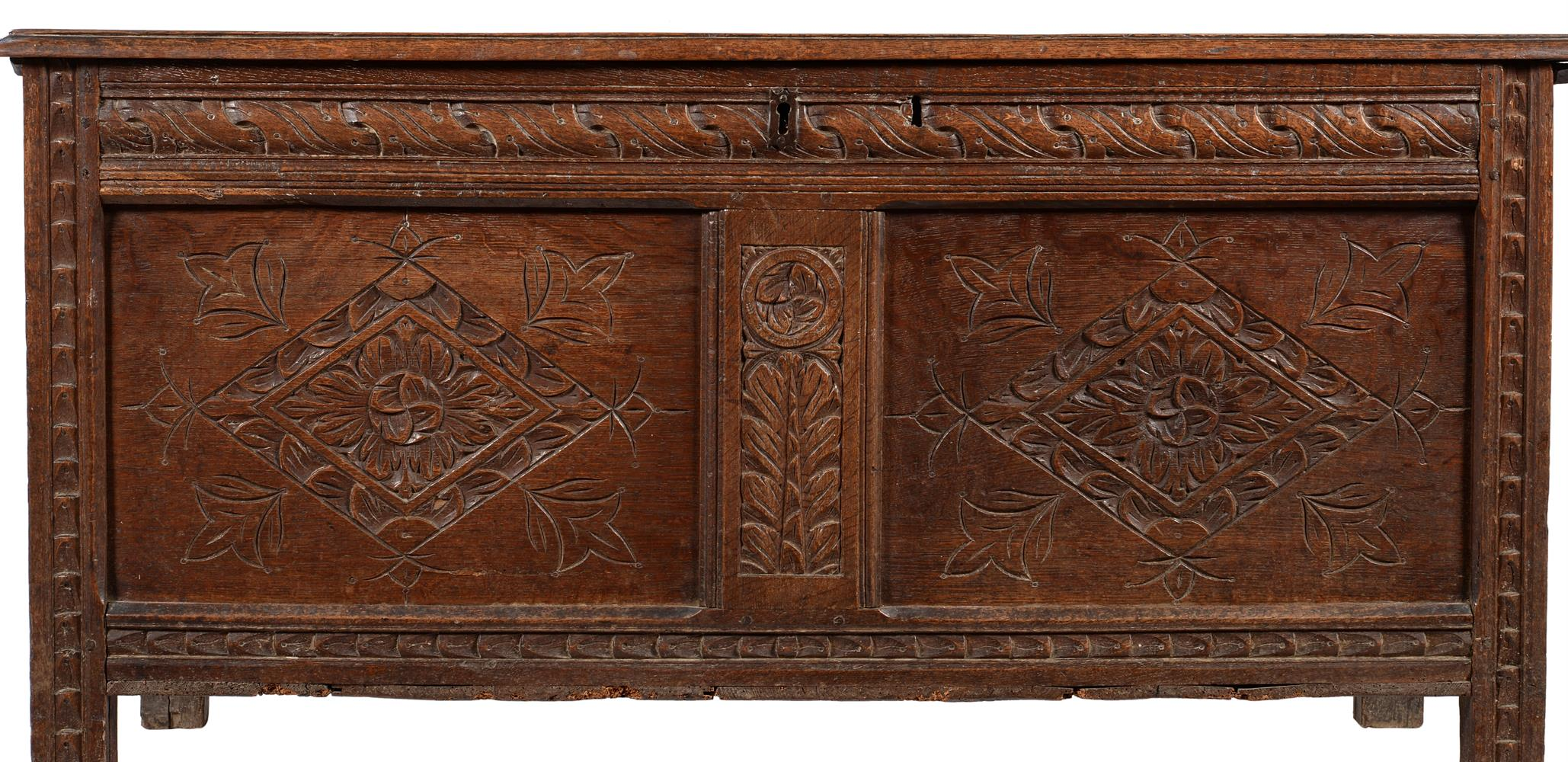 A carved oak coffer - Image 2 of 2