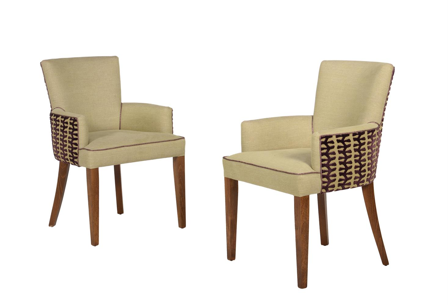 A set of fourteen beech and upholstered armchairs - Image 2 of 3