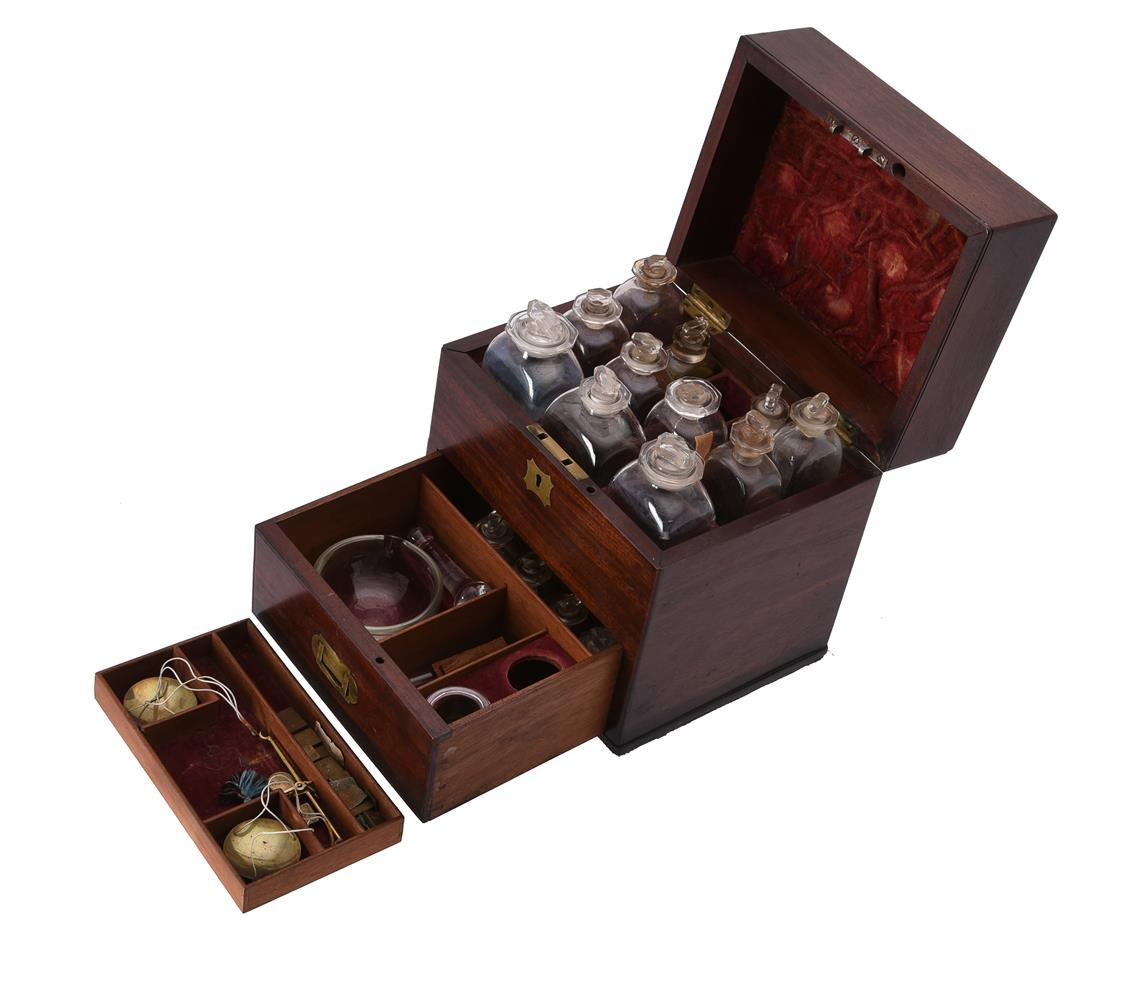 An early Victorian mahogany and brass inlaid apothecary's box - Image 2 of 4