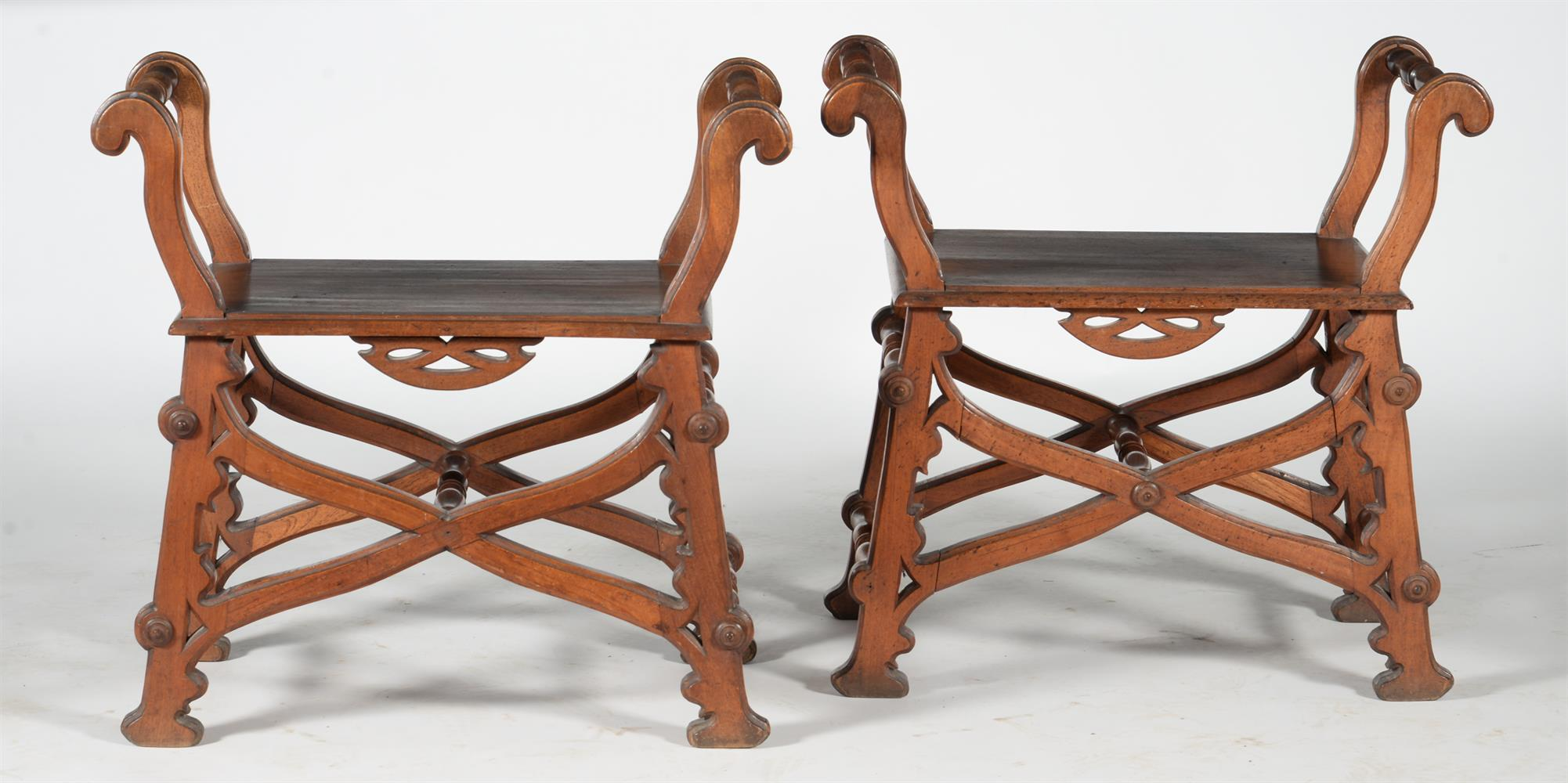 A pair of Reformed Gothic walnut X-framed stools or window seats - Image 2 of 2