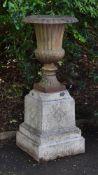 A cast iron Campana vase