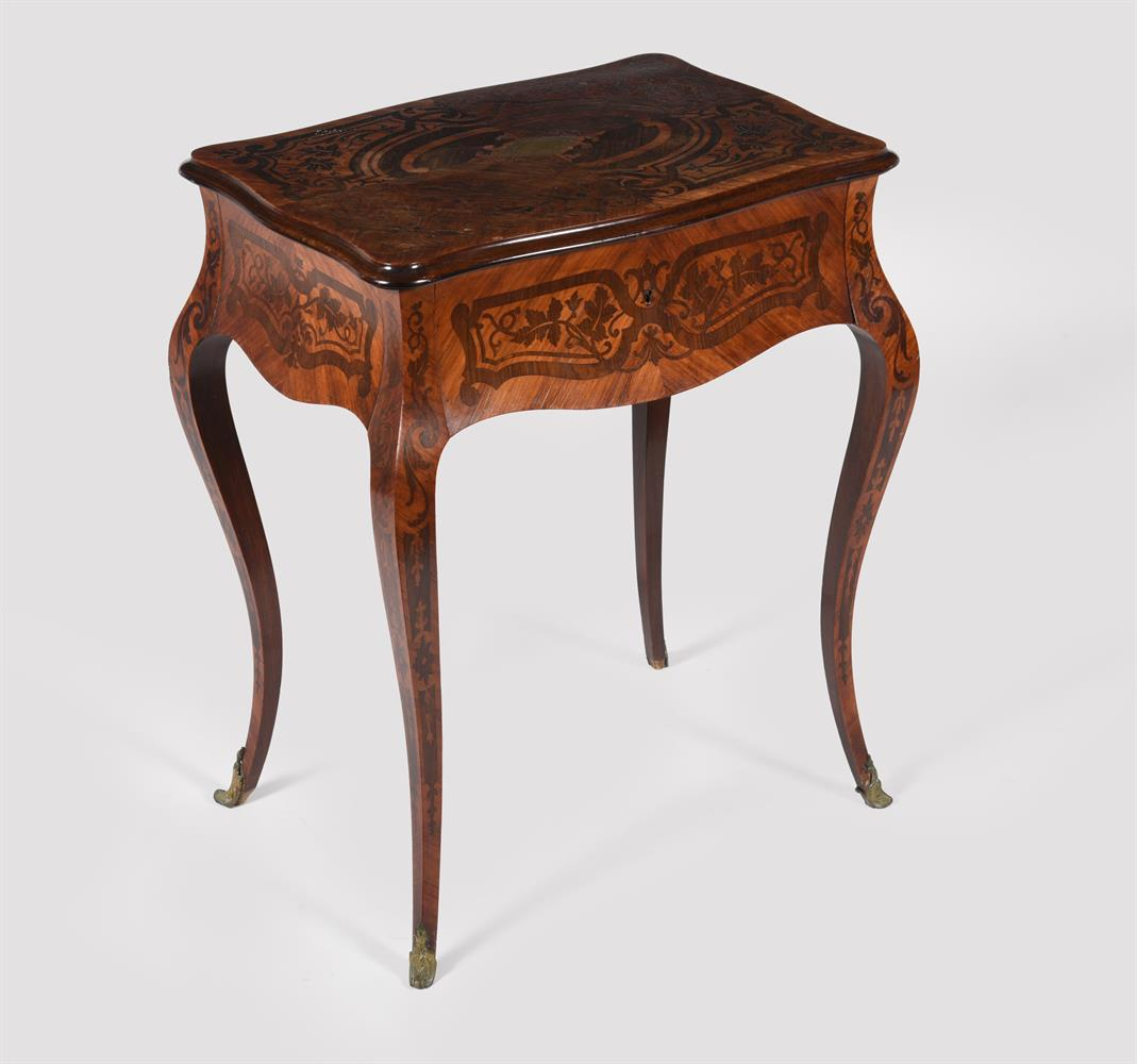 Y A French tulipwood and rosewood marquetry side table - Image 5 of 5
