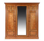 A Scottish late Victorian satinwood wardrobe