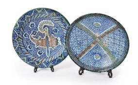 Two underglaze painted earthenware dishes