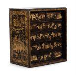 A black lacquer and parcel gilt collectors cabinet