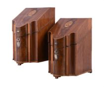 Y A pair of George III mahogany and inlaid knife boxes