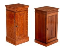 Y† A Victorian Satinwood and inlaid bedside cupboard