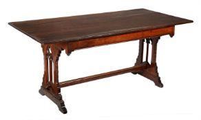 A Victorian oak gothic revival rectangular table