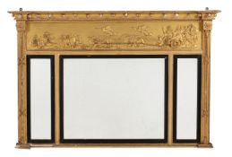 A George IV giltwood and composition overmantel wall mirror