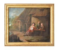 Manner of David Teniers the younger, Outside the tavern; The card game